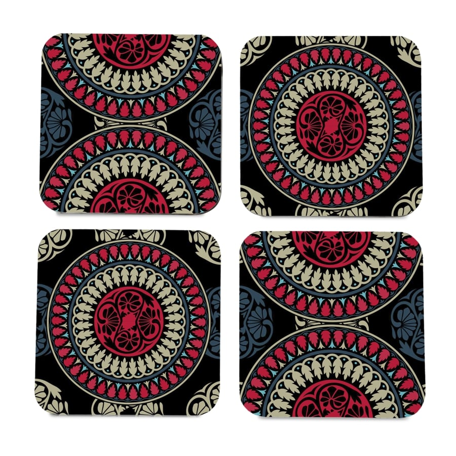 "Black Mandala 4 piece Coaster Set 3.75"" x 3.75"""