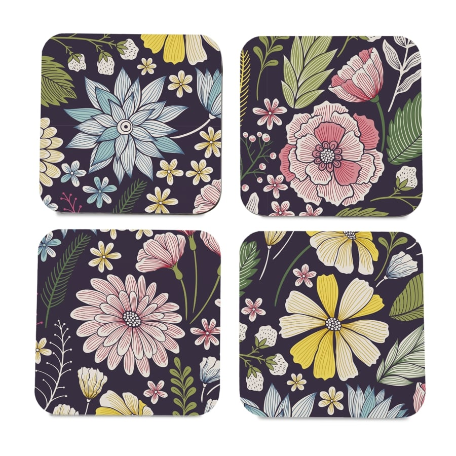 "Floral Daisy 4 piece Coaster Set 3.75"" x 3.75"""