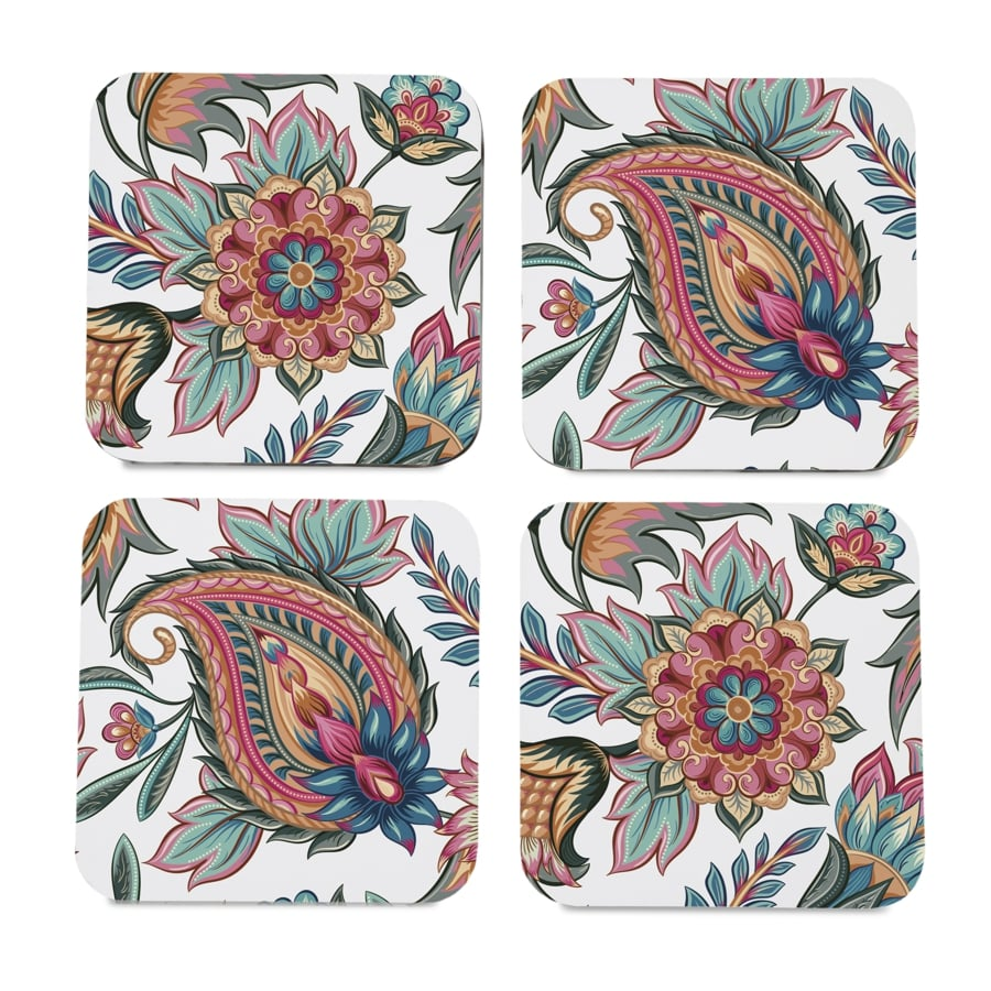 "Oriental Paisley White 4 piece Coaster Set 3.75"" x 3.75"""