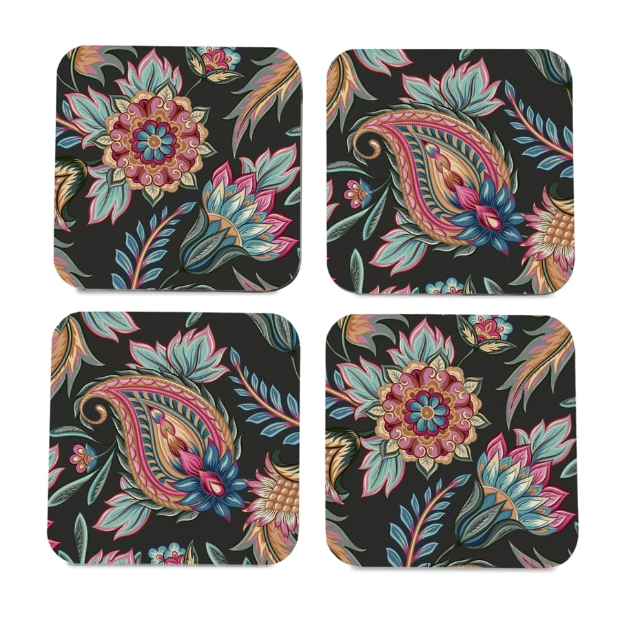 "Oriental Paisley Black 4 piece Coaster Set 3.75"" x 3.75"""