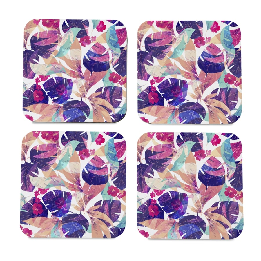 "Floral Hibiscus 4 piece Coaster Set 3.75"" x 3.75"""