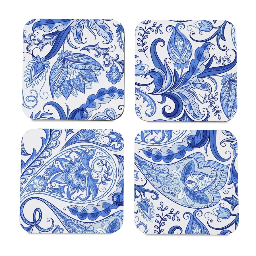 "Blue Orient 4 piece Coaster Set 3.75"" x 3.75"""