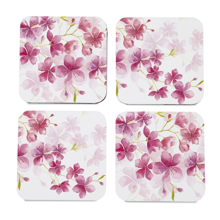 "Cherry Blossom 4 piece Coaster Set 3.75"" x 3.75"""