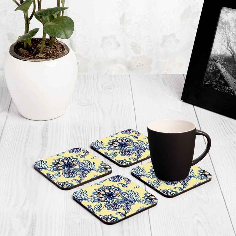 "Batik Blue 4 piece Coaster Set 3.75"" x 3.75"""