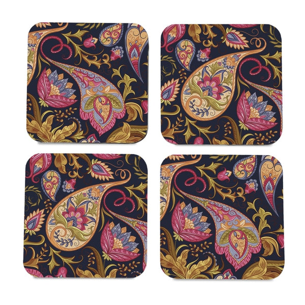 "Sameera Navy 4 piece Coaster Set 3.75"" x 3.75"""