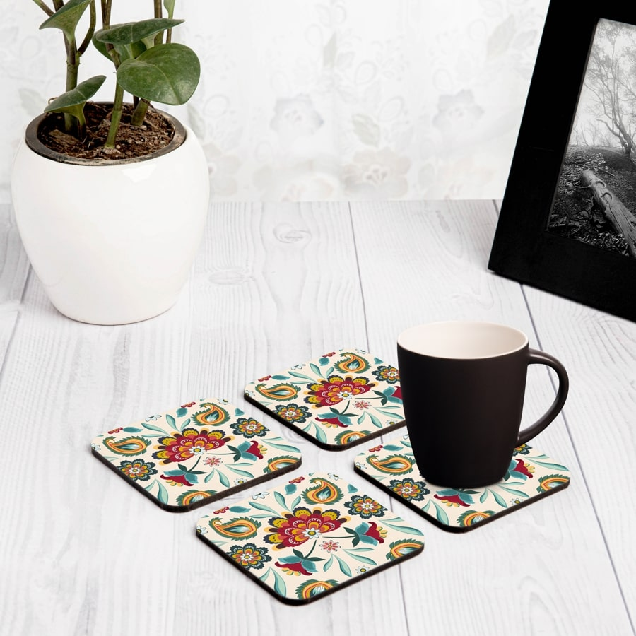 "Aradhana 4 piece Coaster Set 3.75"" x 3.75"""