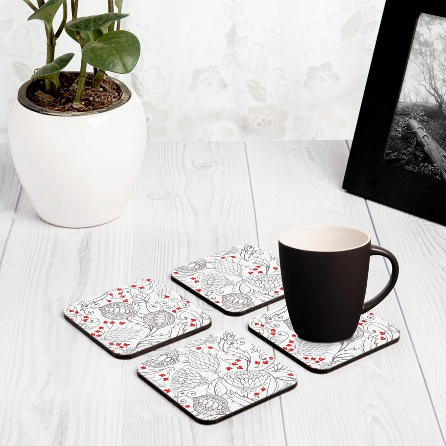 "Pomegranate  4 piece Coaster Set 3.75"" x 3.75"""