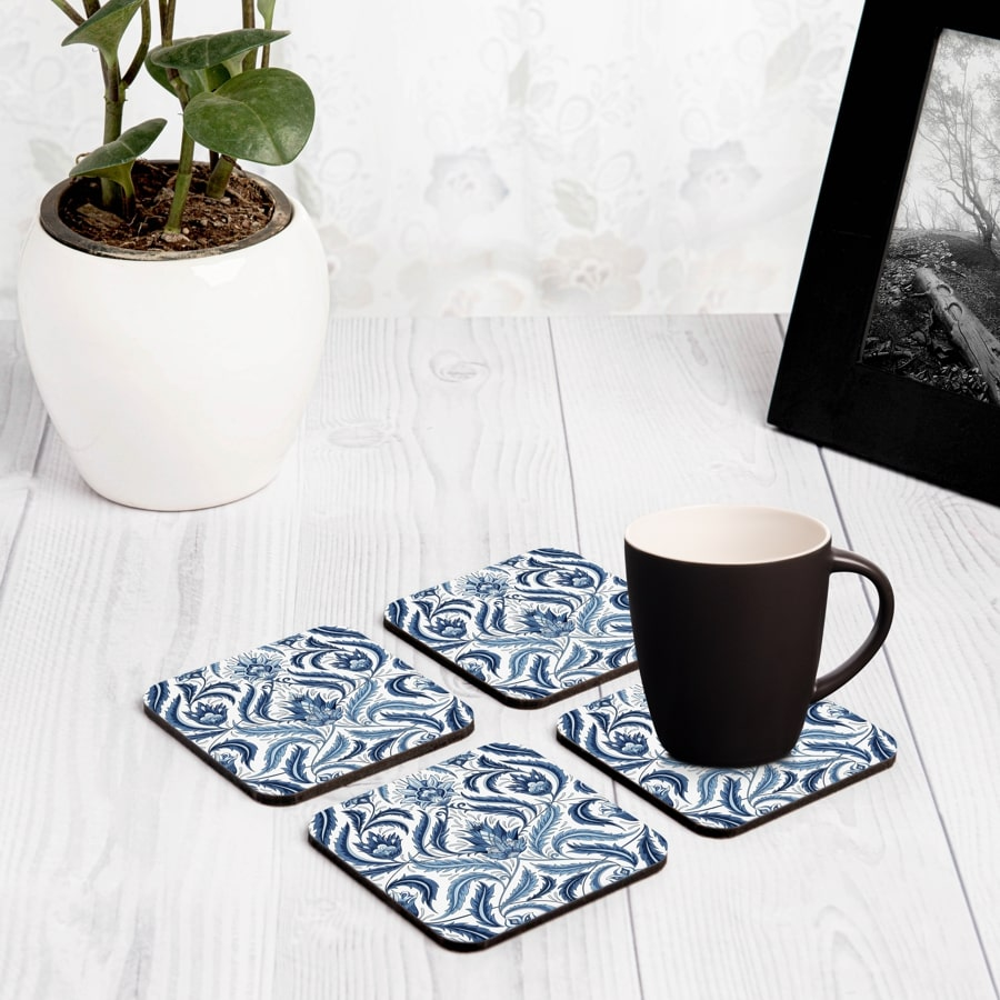 "Liena Blue 4 piece Coaster Set 3.75"" x 3.75"""