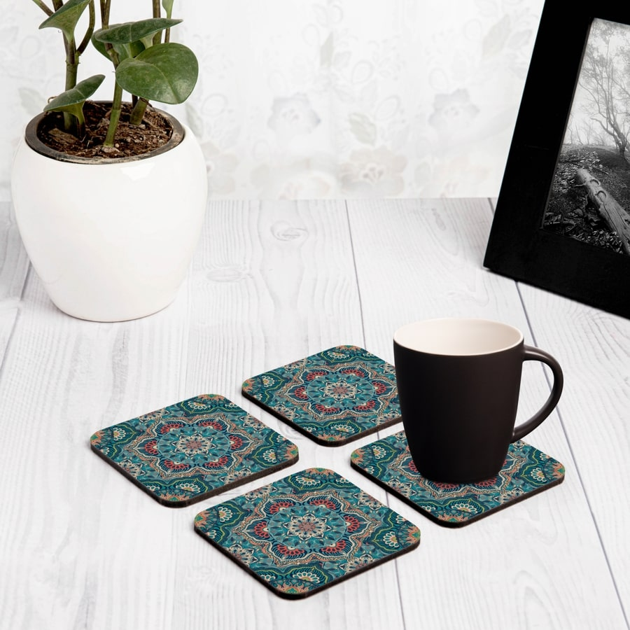 "Sheesha 4 piece Coaster Set 3.75"" x 3.75"""