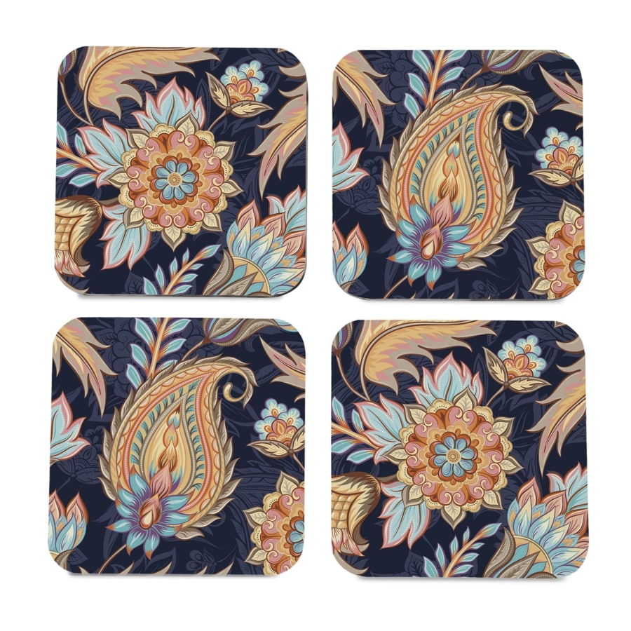 "Oriental Paisley Navy 4 piece Coaster Set 3.75"" x 3.75"""