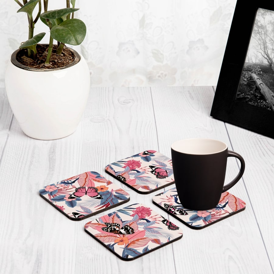 "Grey Pink Butterflies 4 piece Coaster Set 3.75"" x 3.75"""