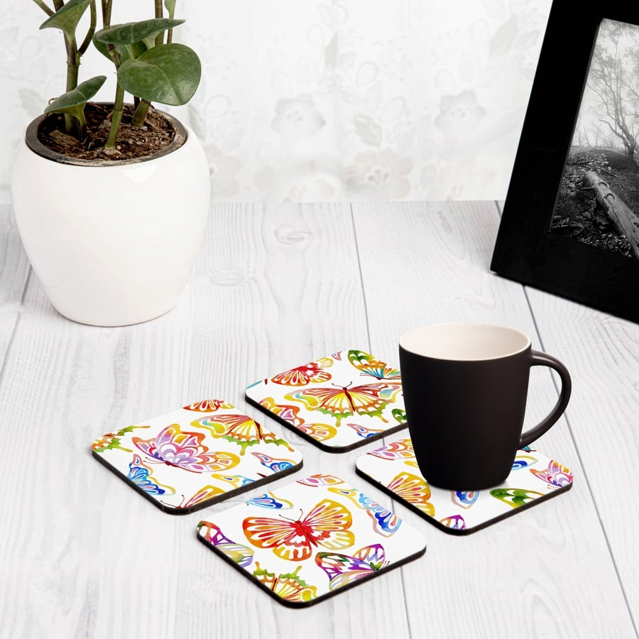 "Watercolour Butterflies 4 piece Coaster Set 3.75"" x 3.75"""