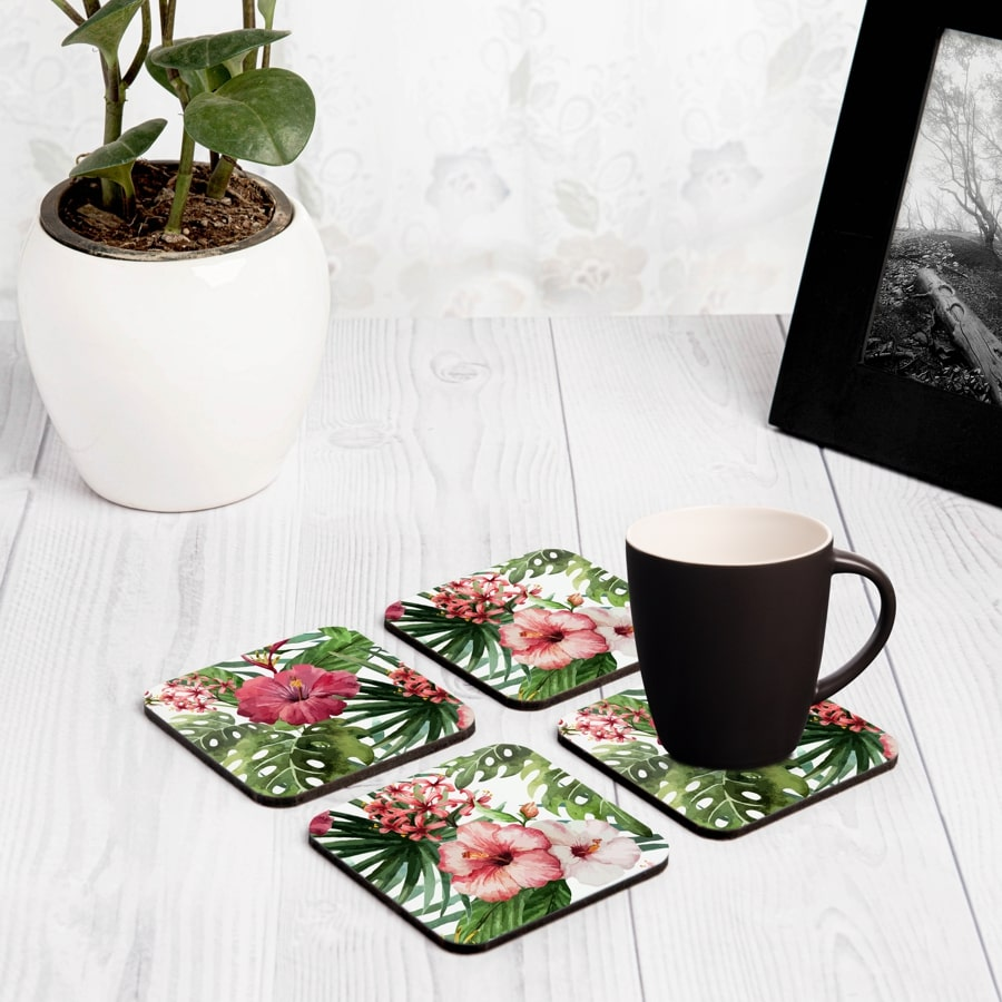 "Tropical Hibiscus 4 piece Coaster Set 3.75"" x 3.75"""