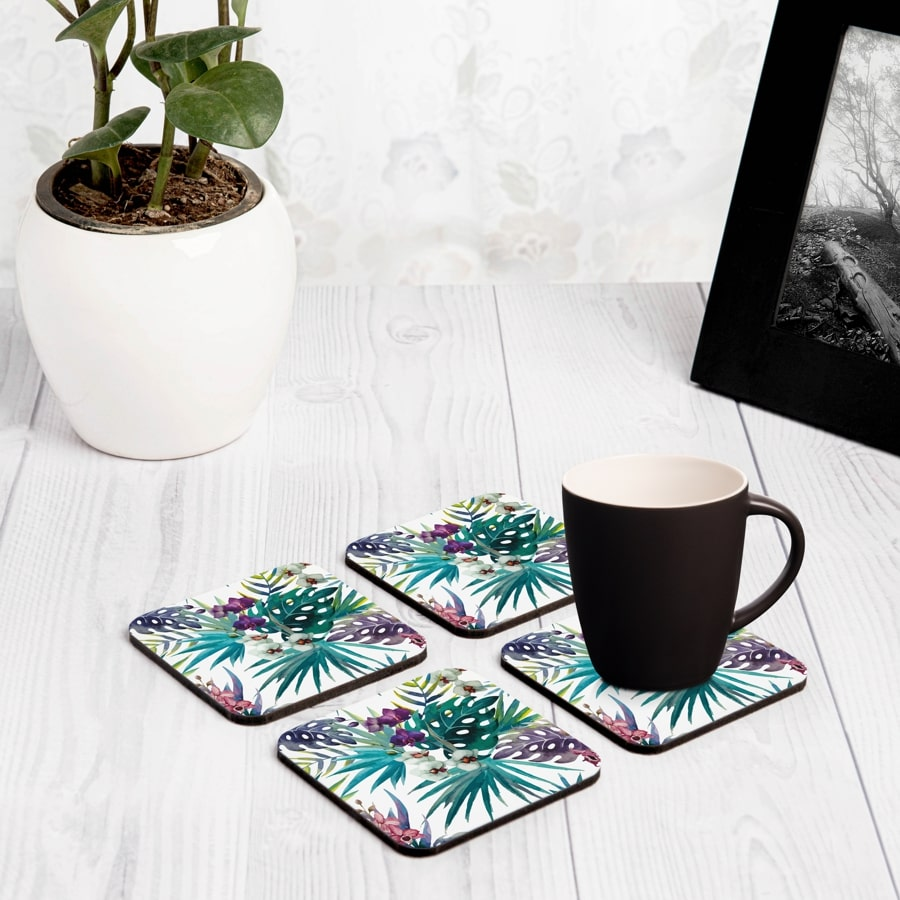 "Tropical Palms 4 piece Coaster Set 3.75"" x 3.75"""