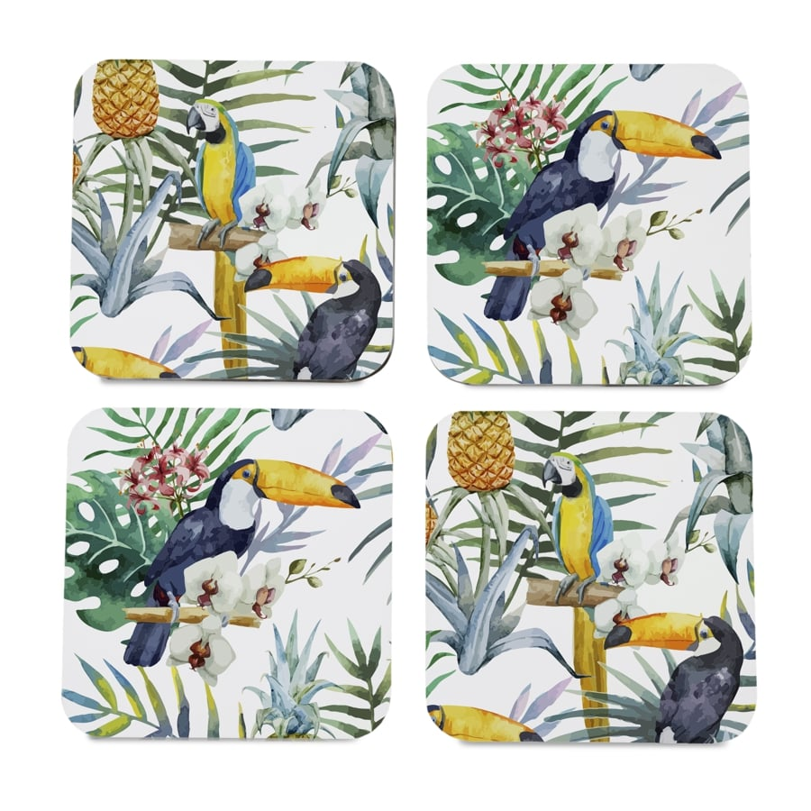 "Toucan 4 piece Coaster Set 3.75"" x 3.75"""
