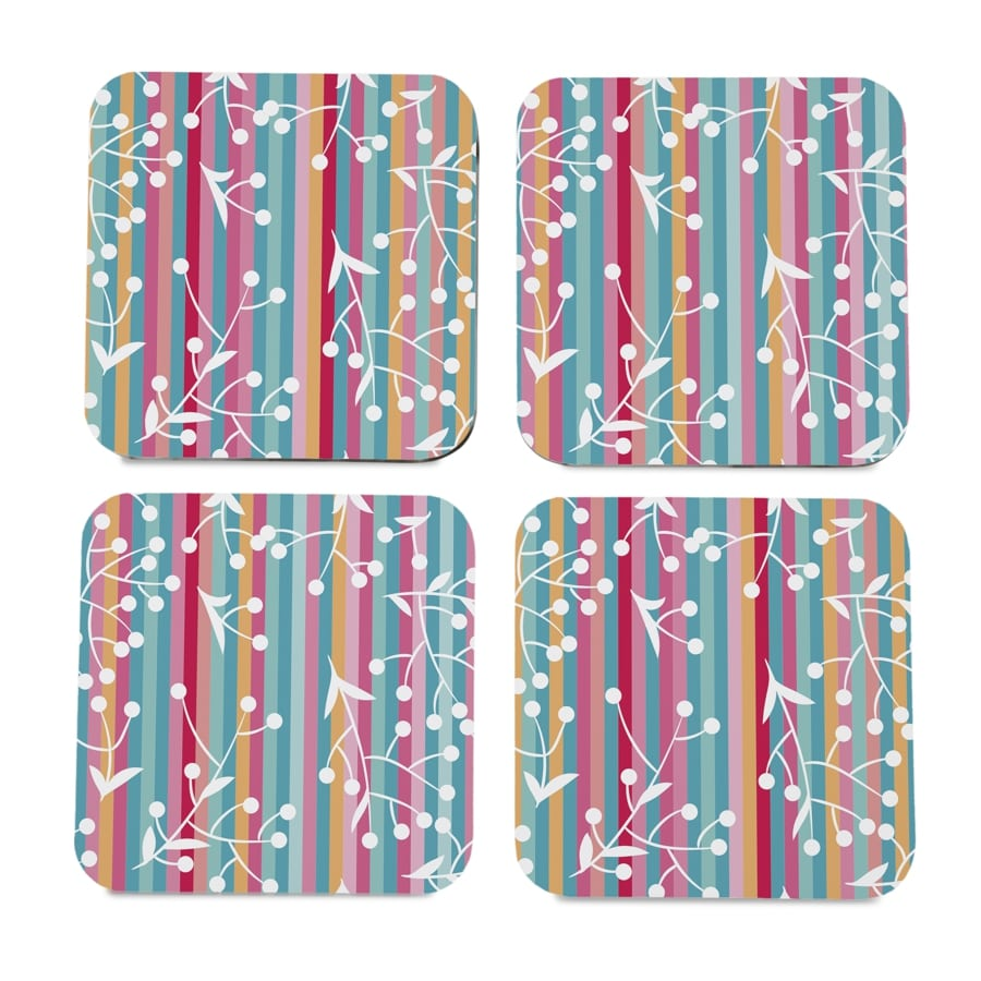 "Floral Stripes 4 piece Coaster Set 3.75"" x 3.75"""