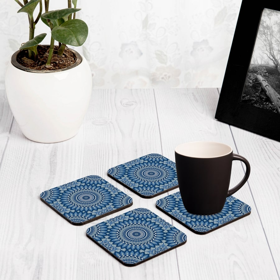 "Blue Mandala 2  4 piece Coaster Set 3.75"" x 3.75"""