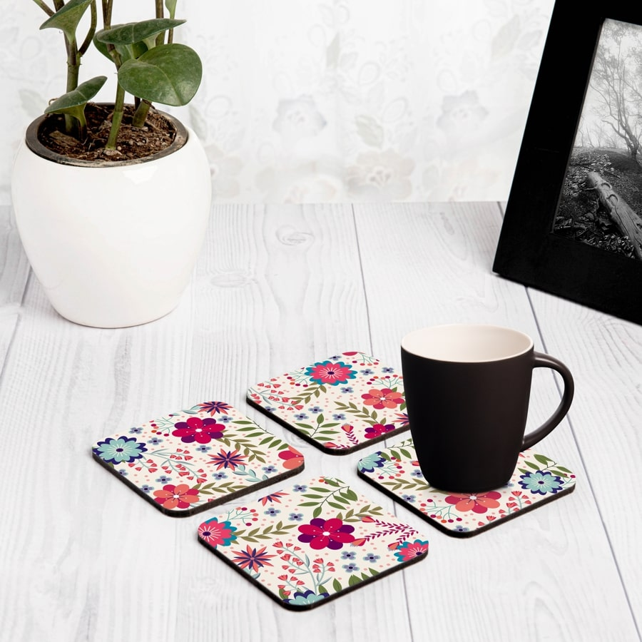 "Teen Floral 4 piece Coaster Set 3.75"" x 3.75"""