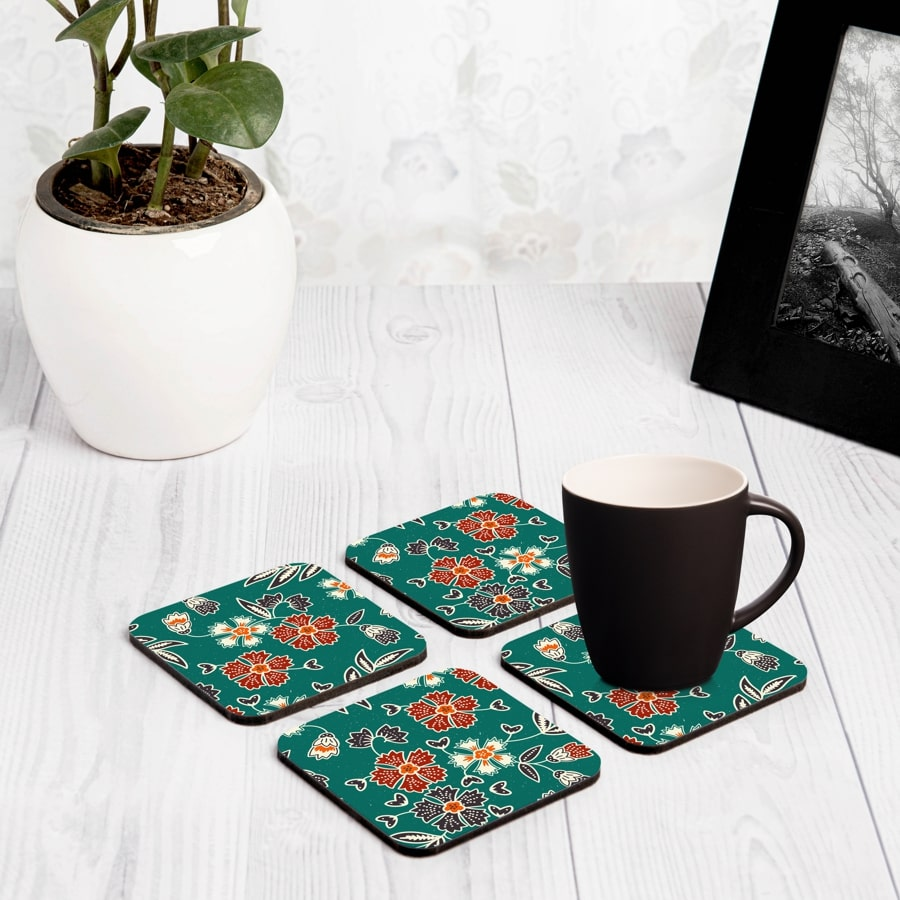 "Emerald Batik 4 piece Coaster Set 3.75"" x 3.75"""