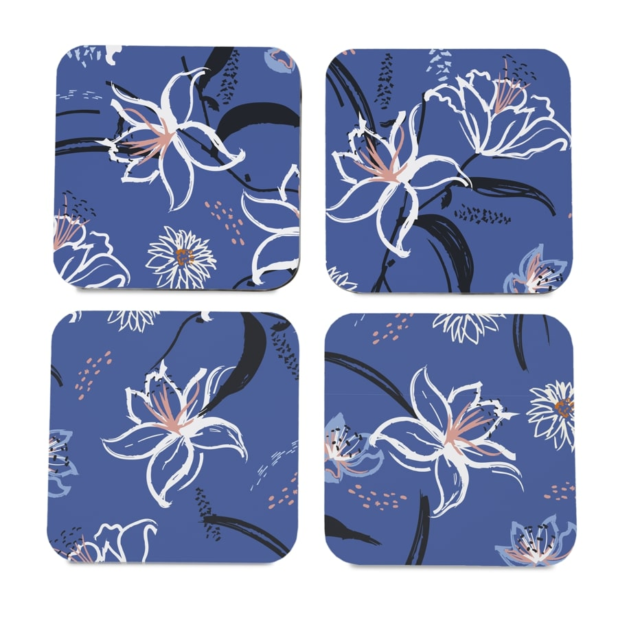"Lily Bloom 4 piece Coaster Set 3.75"" x 3.75"""