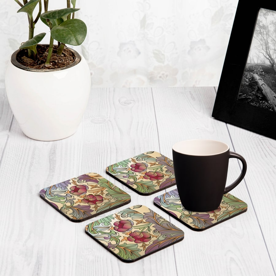 "Ornate Floral 4 piece Coaster Set 3.75"" x 3.75"""