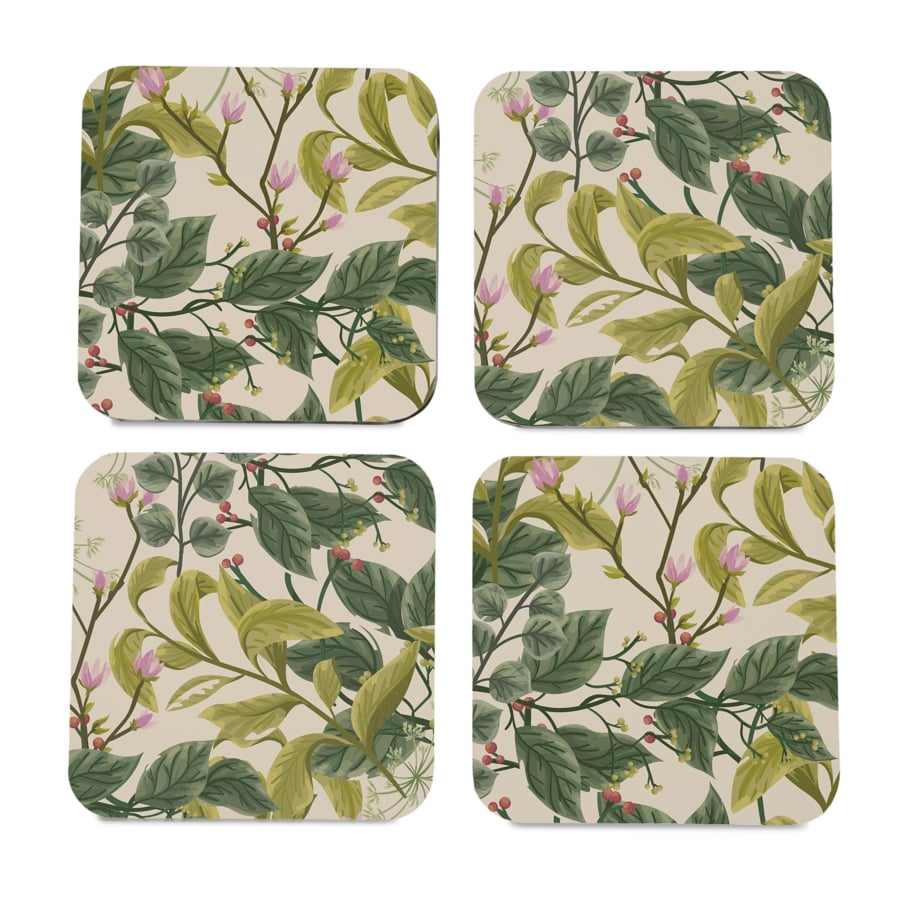 "Vintage Floral 4 piece Coaster Set 3.75"" x 3.75"""