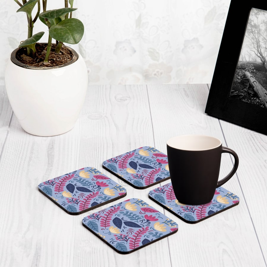 "Winter Flowers 4 piece Coaster Set 3.75"" x 3.75"""