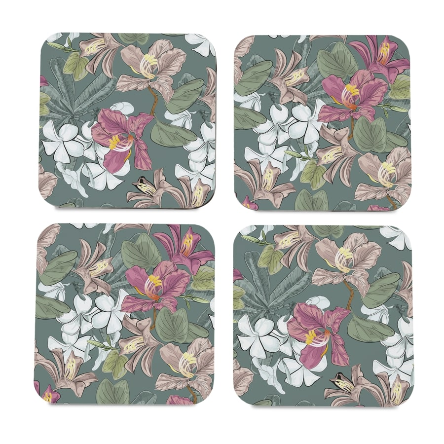 "Vintage Jasmine 4 piece Coaster Set 3.75"" x 3.75"""