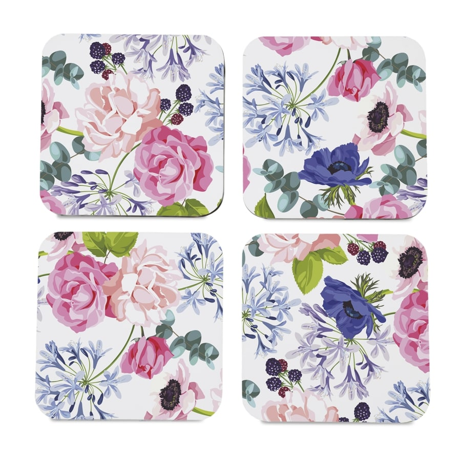 "Roses Etc  4 piece Coaster Set 3.75"" x 3.75"""