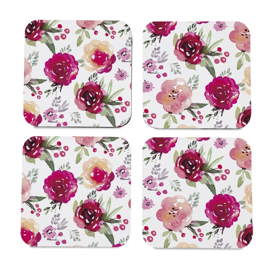 "Pink Flowers 4 piece Coaster Set 3.75"" x 3.75"""