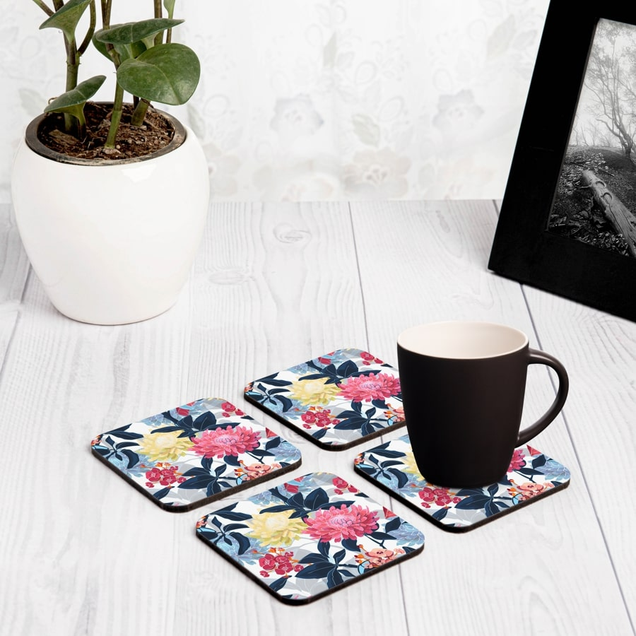 "Mia Floral 4 piece Coaster Set 3.75"" x 3.75"""