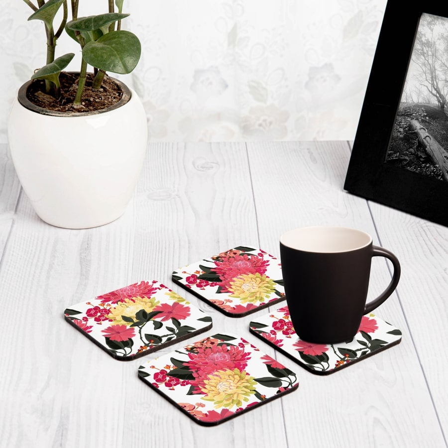"Ava Floral 4 piece Coaster Set 3.75"" x 3.75"""