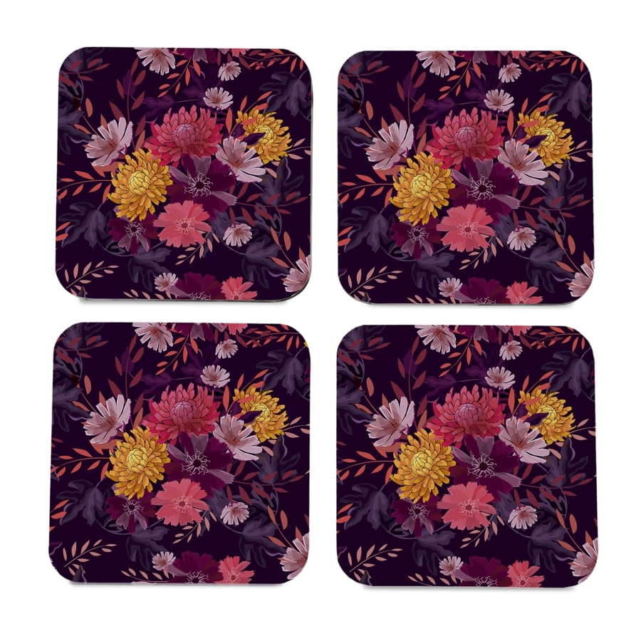 "Autumn Garden 4 piece Coaster Set 3.75"" x 3.75"""