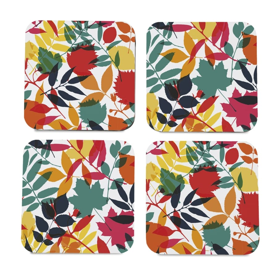"Autumn Leaves 4 piece Coaster Set 3.75"" x 3.75"""