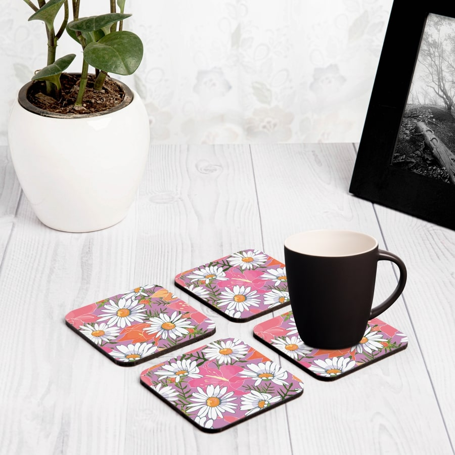 "Camomile 4 piece Coaster Set 3.75"" x 3.75"""