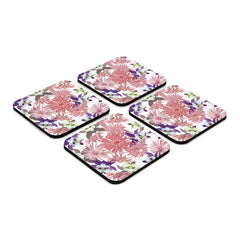 "Pink Asters 4 piece Coaster Set 3.75"" x 3.75"""