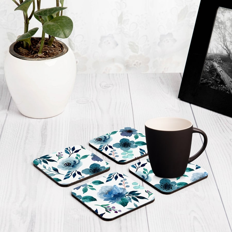 "Indigo Flowers 4 piece Coaster Set 3.75"" x 3.75"""