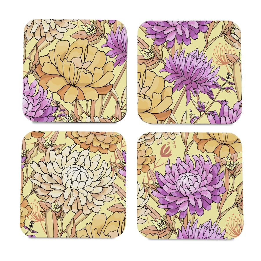 "Maya Floral 4 piece Coaster Set 3.75"" x 3.75"""