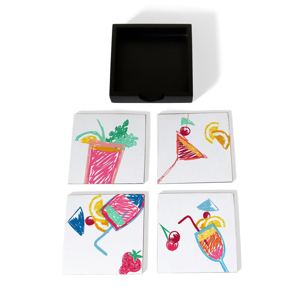 Summer Cocktails Coaster Set with Box