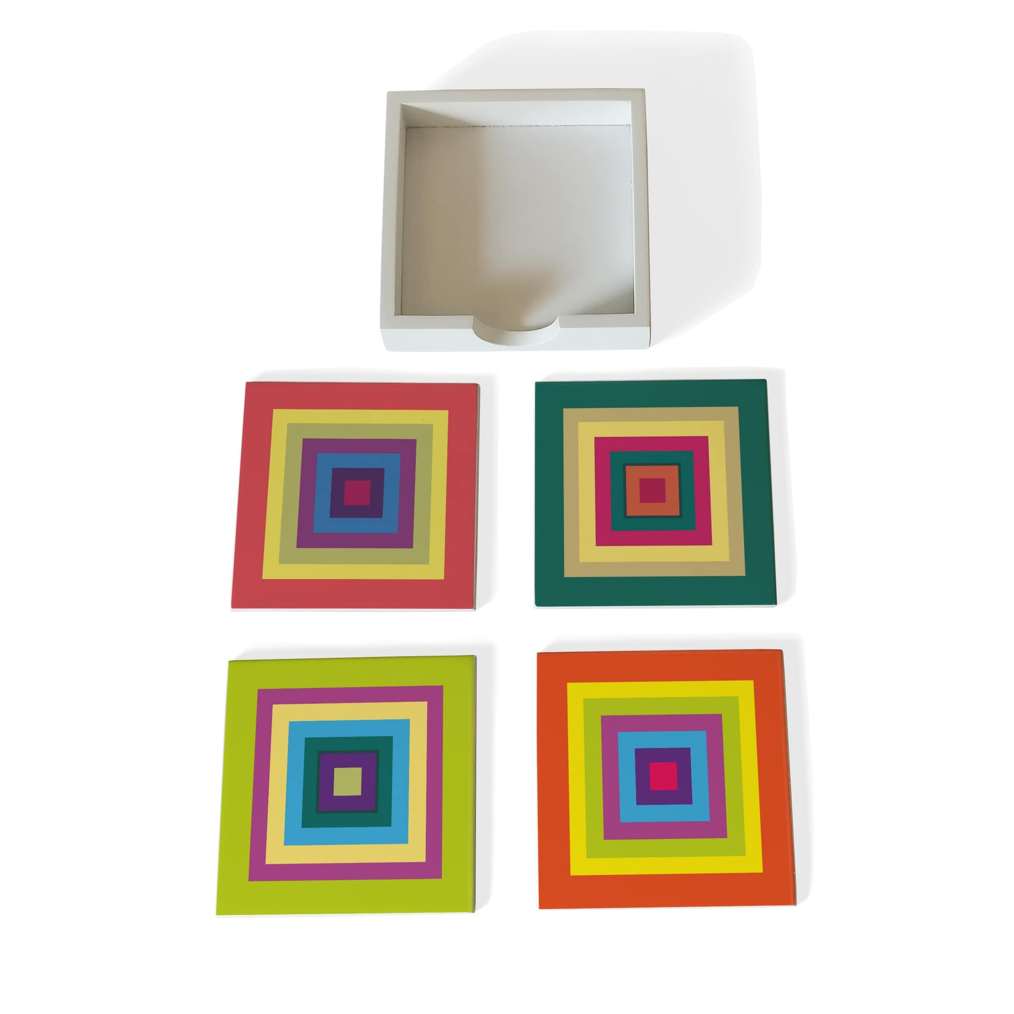 Colourful Squares Coaster Set with Box