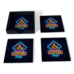 Neon Coffee Coaster Set with Box