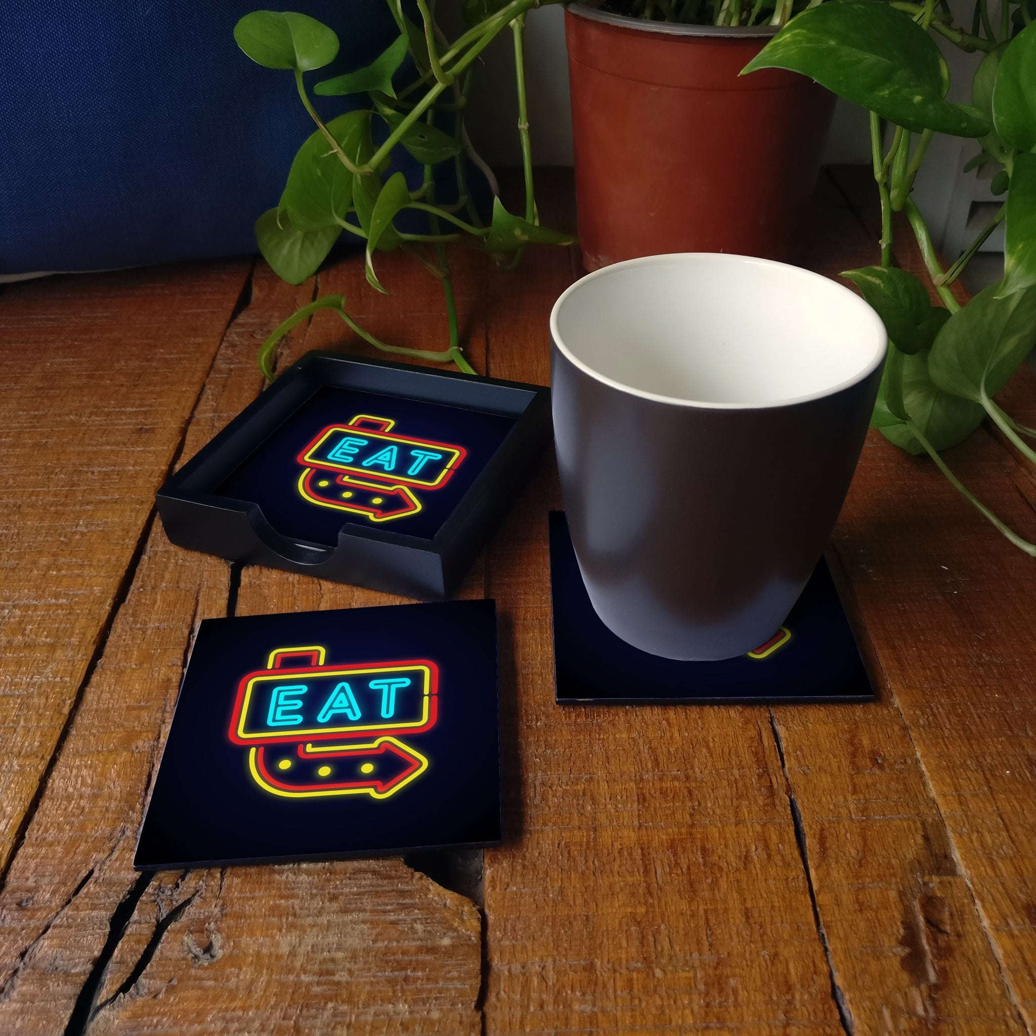 Neon Eat Coaster Set with Box