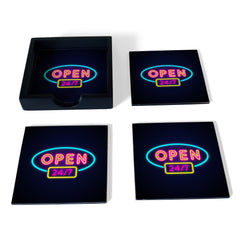 Neon Open 247 Coaster Set with Box