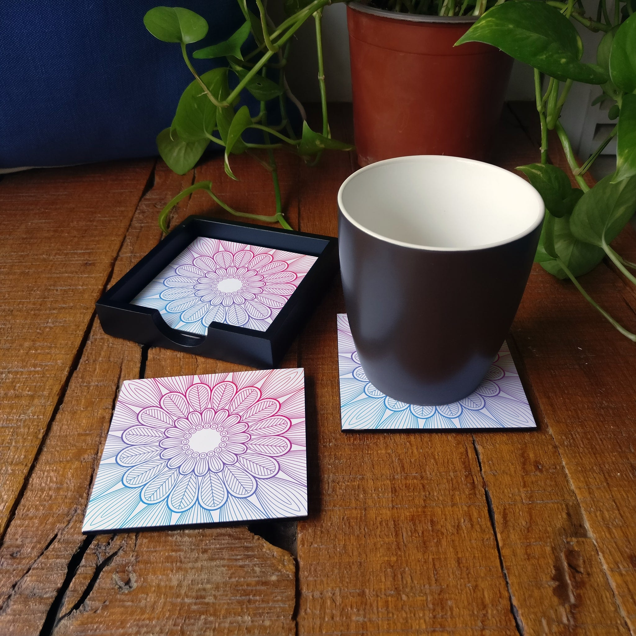 Boho Center Coaster Set with Box