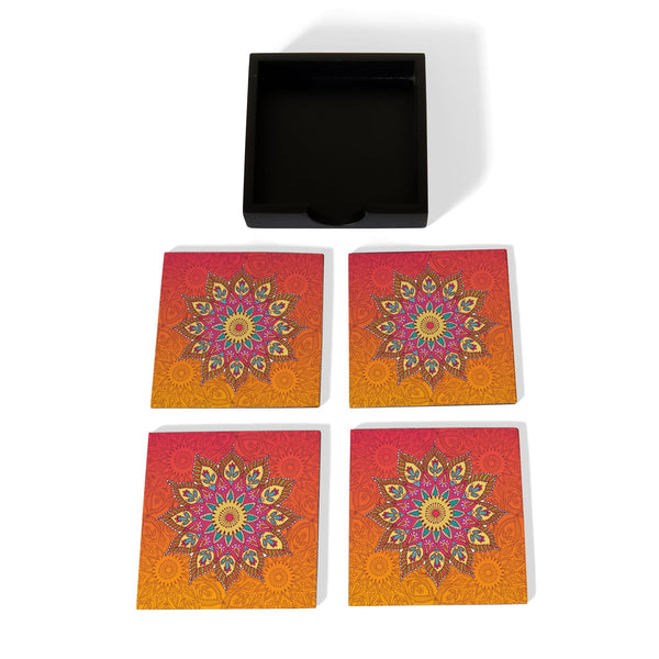 Orange Mandala Coaster Set with Box