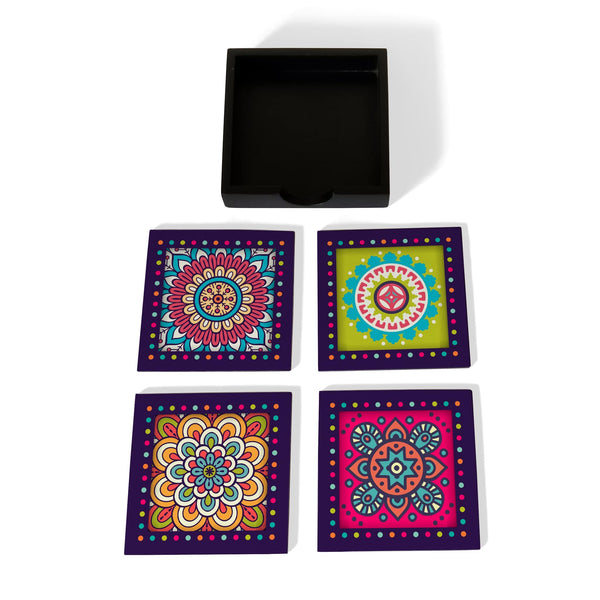 Multi Mandala Coaster Set with Box