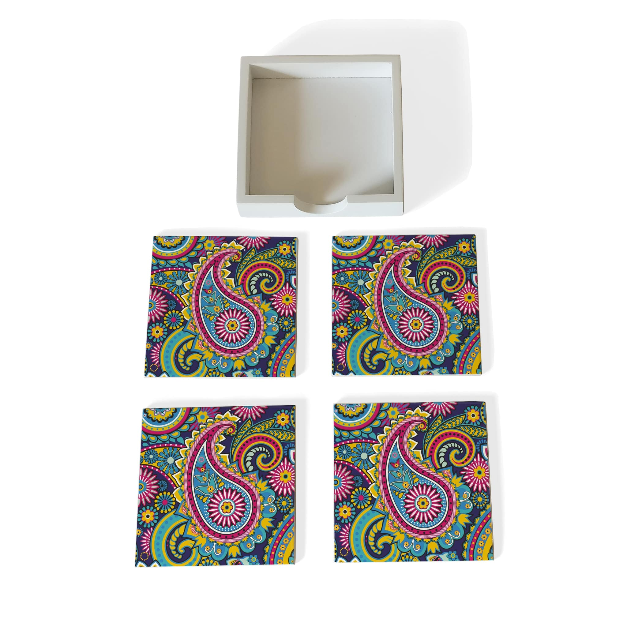 Blue Paisley Coaster Set with Box