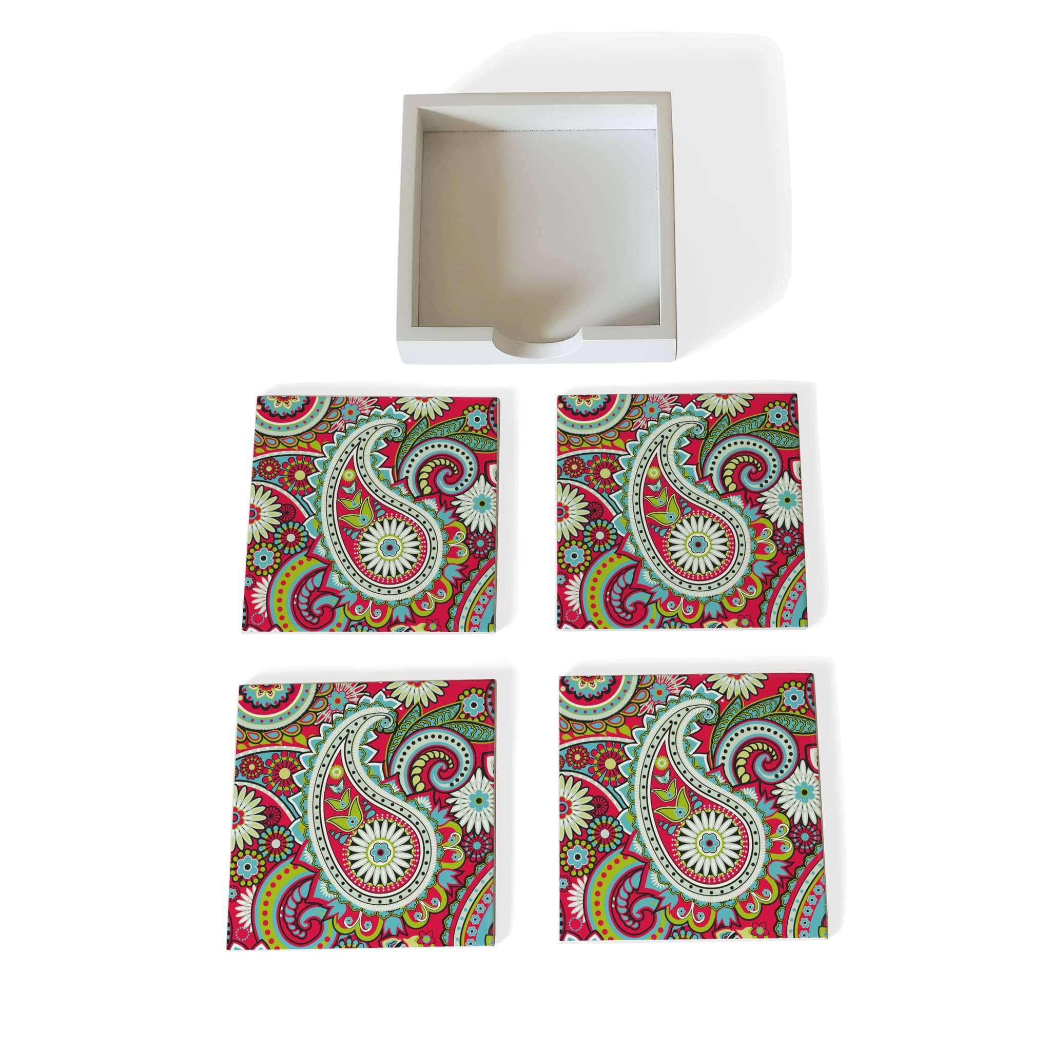 Pink Paisley Coaster Set with Box