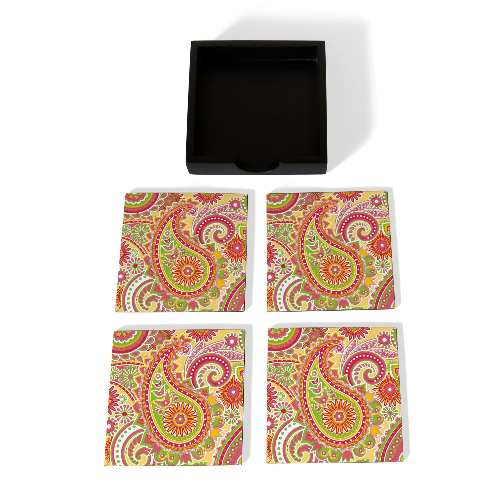 Yellow Paisley Coaster Set with Box