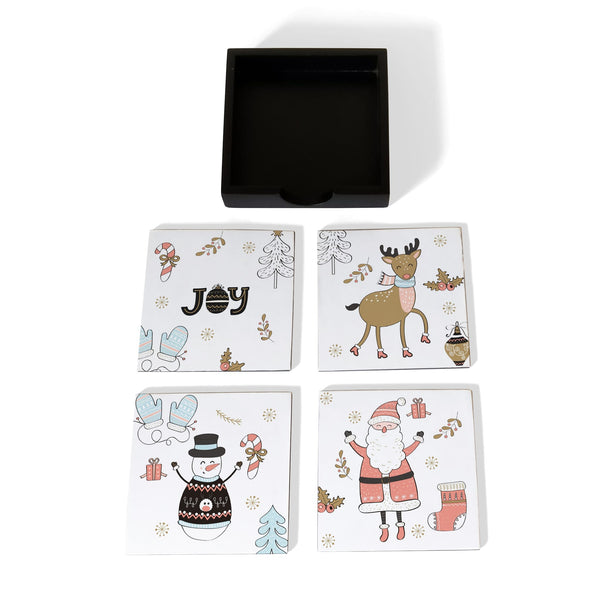 Xmas Allover Coaster Set with Box